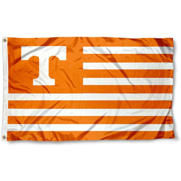 Tennessee Volunteers Striped Flag measures 3'x5', is made of polyester, offers quadruple stitched flyends for durability, has two metal grommets, and is viewable from both sides with a reverse image on the opposite side. Our Tennessee Volunteers Striped Flag is officially licensed by the selected school university and the NCAA
