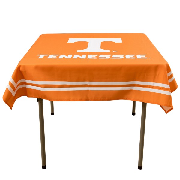 Tennessee Volunteers Table Cloth measures 48 x 48 inches, is made of 100% Polyester, seamless one-piece construction, and is perfect for any tailgating table, card table, or wedding table overlay. Each includes Officially Licensed Logos and Insignias.