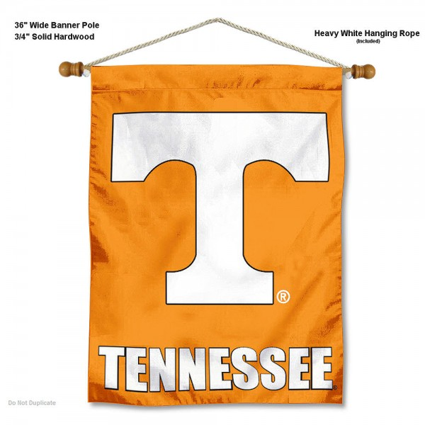 "Tennessee Volunteers Wall Banner is constructed of polyester material, measures a large 30""x40"", offers screen printed athletic logos, and includes a sturdy 3/4"" diameter and 36"" wide banner pole and hanging cord. Our Tennessee Volunteers Wall Banner is Officially Licensed by the selected college and NCAA."