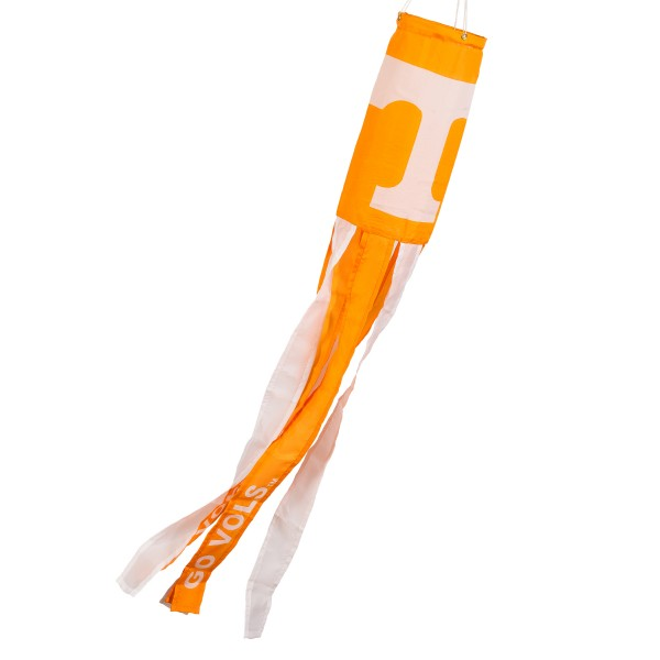 "Tennessee Volunteers Windsock measures 40"" in length by 5"" in width, is made of 100% polyester, offers screen printed NCAA team logos, team names and insignias, has 6 alternative colored streamers and tails, includes a double stringed bridle and hanging swivel clip, and our Tennessee Volunteers Windsock is authentic, licensed, and approved by the selected university or team."