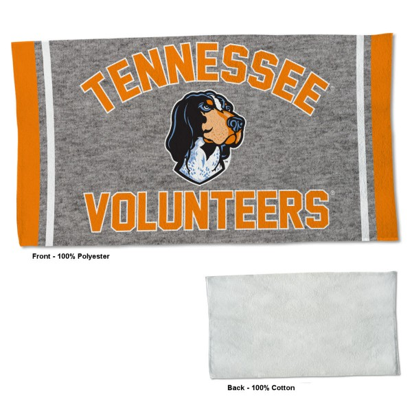 Tennessee Volunteers Workout Exercise Towel measures 22x42 inches, is made of 100% Polyester on the front and 100% Cotton on the back, has double stitched sewing perimeter, and Graphics and Logos, as shown. Our Tennessee Volunteers Workout Exercise Towel is officially licensed by the selected university and the NCAA. Also, machine washable and dryer safe.