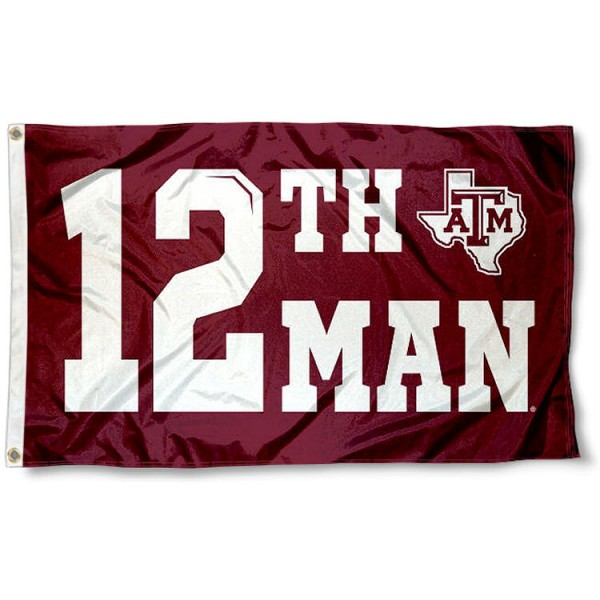 Texas A&M 12th Man Flag measures 3'x5', is made of 100% poly, has quadruple stitched sewing, two metal grommets, and has double sided Team University logos. Our Texas A&M 3x5 Flag is officially licensed by the selected university and the NCAA.