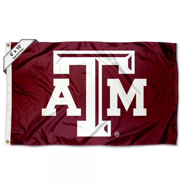 Texas A&M 6'x10' Flag measures 6x10 feet, is made of thick poly, has quadruple-stitched fly ends, and Texas A&M logos are screen printed into the Texas A&M 6'x10' Flag. This Texas A&M 6'x10' Flag is officially licensed by and the NCAA.