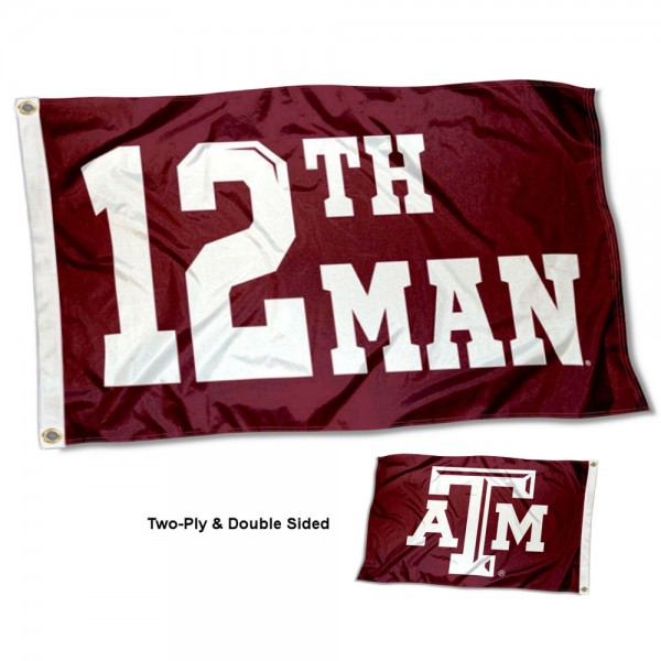 Texas A&M Aggies 12th Man Double Sided Flag measures 3x5, is made thick 100% polyester, has two stitched flyends for durability, and is readable correctly on both sides. Our Texas A&M Aggies 12th Man Double Sided Flag is officially licensed by the university, school, and the NCAA.