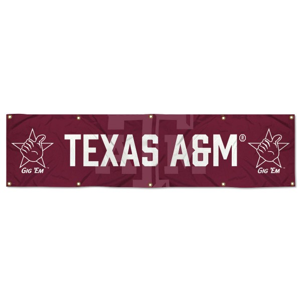 Texas A&M Aggies 8 Foot Large Banner measures 2x8 feet and displays Texas A&M Aggies logos. Our Texas A&M Aggies 8 Foot Large Banner is made of thick polyester and ten grommets around the perimeter for hanging securely. These banners for Texas A&M Aggies are officially licensed by the NCAA.