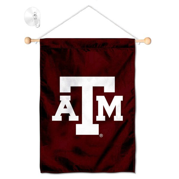 "Texas A&M Aggies Banner with Suction Cup kit includes our 13""x18"" garden banner which is made of 2 ply poly with liner and has screen printed licensed logos. Also, a 17"" wide banner pole with suction cup is included so your Texas A&M Aggies Banner with Suction Cup is ready to be displayed with no tools needed for setup. Fast Overnight Shipping is offered and the flag is Officially Licensed and Approved by the selected team."