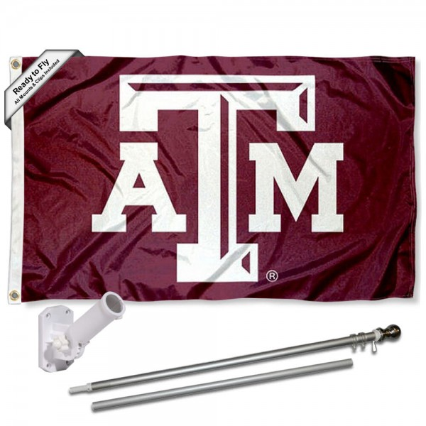 Our Texas A&M Aggies Beveled Flag Pole and Bracket Kit includes the flag as shown and the recommended flagpole and flag bracket. The flag is made of polyester, has quad-stitched flyends, and the NCAA Licensed team logos are double sided screen printed. The flagpole and bracket are made of rust proof aluminum and includes all hardware so this kit is ready to install and fly.