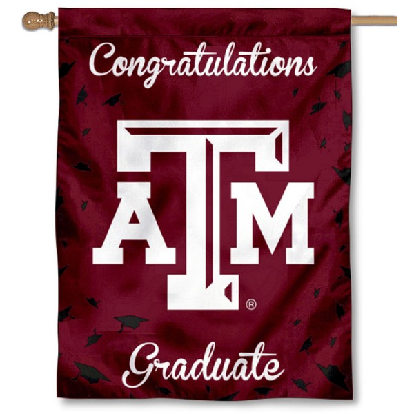 Texas A&M Aggies Congratulations Graduate Flag measures 30x40 inches, is made of poly, has a top hanging sleeve, and offers dye sublimated Texas A&M Aggies logos. This Decorative Texas A&M Aggies Congratulations Graduate House Flag is officially licensed by the NCAA.