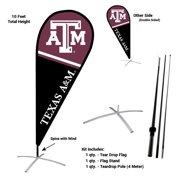 Texas A&M Aggies Feather Flag Kit measures a tall 10' when fully assembled. The kit includes a Feather Flag, 3 Piece Fiberglass Pole, and matching Metal Feather Flag Stand. Our Texas A&M Aggies Feather Flag Kit easily assembles and is NCAA Officially Licensed by the selected school or university.