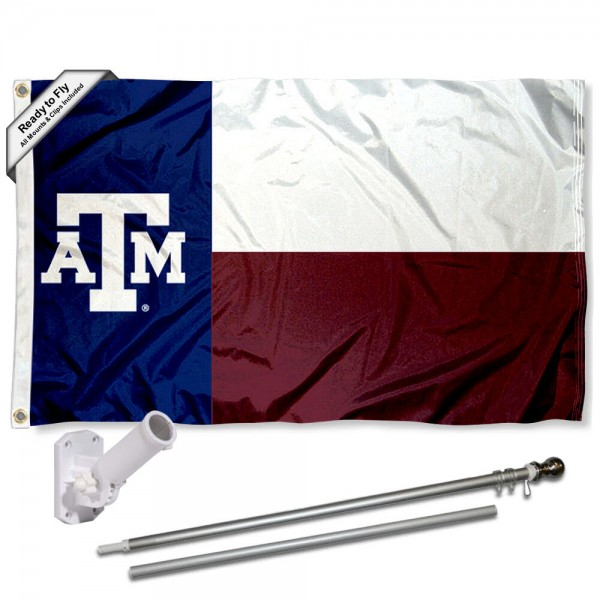 Our Texas A&M Aggies Flag Pole and Bracket Kit includes the flag as shown and the recommended flagpole and flag bracket. The flag is made of polyester, has quad-stitched flyends, and the NCAA Licensed team logos are double sided screen printed. The flagpole and bracket are made of rust proof aluminum and includes all hardware so this kit is ready to install and fly.