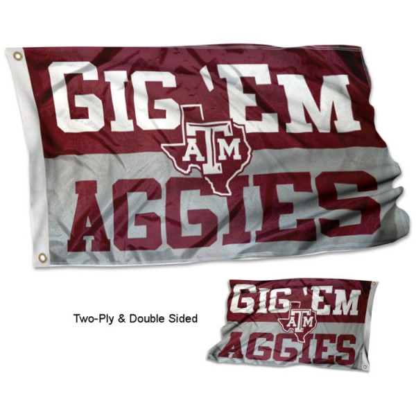 Texas A&M Aggies Gig Em Double Sided Flag measures 3x5, is made thick 100% polyester, has two stitched flyends for durability, and is readable correctly on both sides. Our Texas A&M Aggies Gig Em Double Sided Flag is officially licensed by the university, school, and the NCAA.