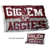 Texas A&M Aggies Gig Em Double Sided Flag