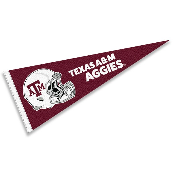 Texas A&M Aggies Helmet Pennant consists of our full size sports pennant which measures 12x30 inches, is constructed of felt, is single sided imprinted, and offers a pennant sleeve for insertion of a pennant stick, if desired. This Texas A&M Aggies Pennant Decorations is Officially Licensed by the selected university and the NCAA.