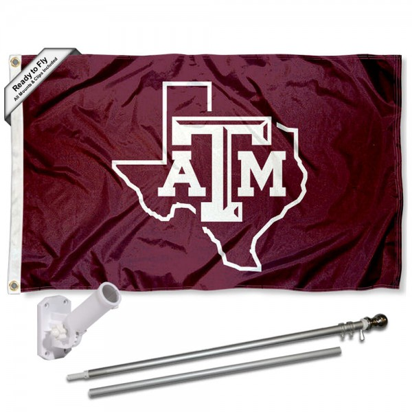 Our Texas A&M Aggies Lone Star Logo Flag Pole and Bracket Kit includes the flag as shown and the recommended flagpole and flag bracket. The flag is made of polyester, has quad-stitched flyends, and the NCAA Licensed team logos are double sided screen printed. The flagpole and bracket are made of rust proof aluminum and includes all hardware so this kit is ready to install and fly.