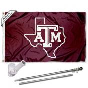 Texas A&M Aggies Lone Star Logo Flag Pole and Bracket Kit