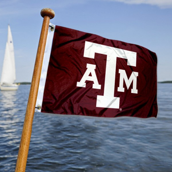 Texas A&M Aggies Nautical Flag measures 12x18 inches, is made of two-ply polyesters, offers quadruple stitched flyends for durability, has two metal grommets, and is viewable from both sides. Our Texas A&M Aggies Nautical Flag is officially licensed by the selected university and the NCAA and can be used as a motorcycle flag, golf cart flag, or ATV flag