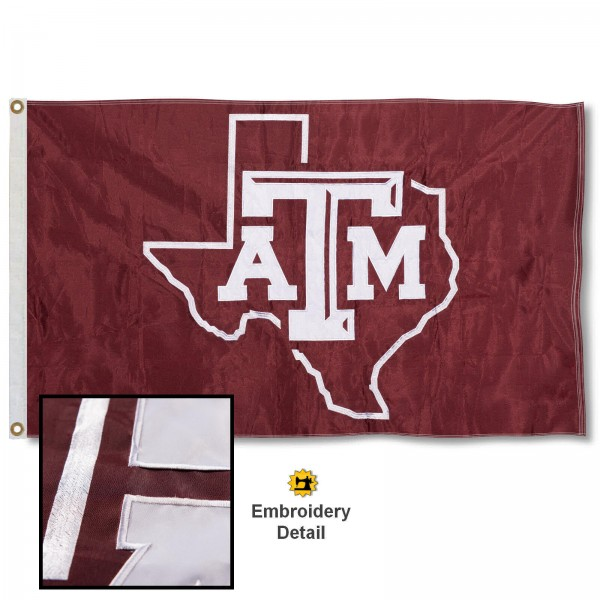 Texas A&M Aggies Nylon Embroidered Flag measures 3'x5', is made of 100% nylon, has quadruple flyends, two metal grommets, and has double sided appliqued and embroidered University logos. These Texas A&M Aggies 3x5 Flags are officially licensed by the selected university and the NCAA.