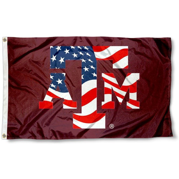 Texas A&M Aggies Patriotic Flag measures 3'x5', is made of 100% poly, has quadruple stitched sewing, two metal grommets, and has double sided Team University logos. Our Texas A&M USA Flag Waving is officially licensed by the selected university and the NCAA.