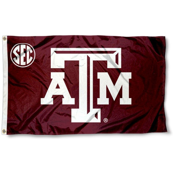 Texas A&M Aggies SEC Flag measures 3'x5', is made of 100% poly, has quadruple stitched sewing, two metal grommets, and has double sided Team University logos. Our Texas A&M Aggies SEC Flag is officially licensed by the selected university and the NCAA.