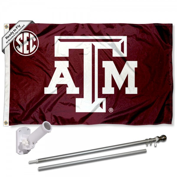 Our Texas A&M Aggies SEC Flag Pole and Bracket Kit includes the flag as shown and the recommended flagpole and flag bracket. The flag is made of polyester, has quad-stitched flyends, and the NCAA Licensed team logos are double sided screen printed. The flagpole and bracket are made of rust proof aluminum and includes all hardware so this kit is ready to install and fly.