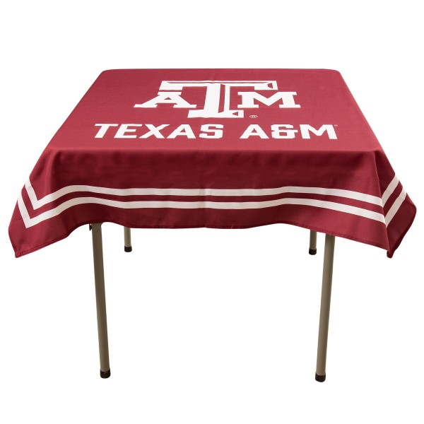 Texas A&M Aggies Table Cloth measures 48 x 48 inches, is made of 100% Polyester, seamless one-piece construction, and is perfect for any tailgating table, card table, or wedding table overlay. Each includes Officially Licensed Logos and Insignias.