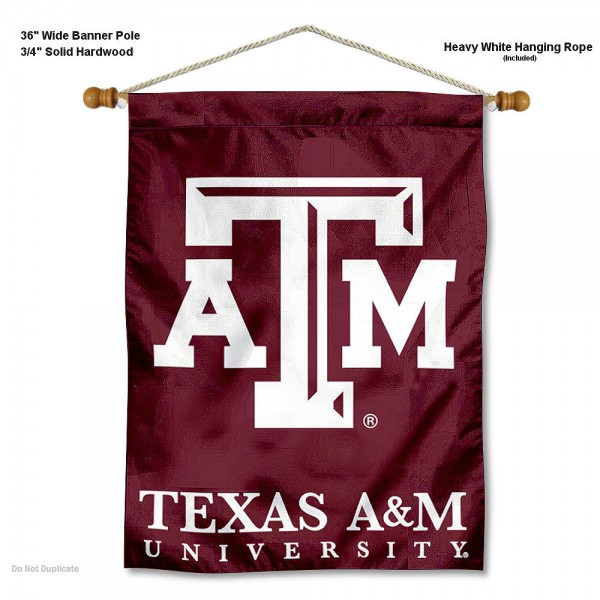 """Texas A&M Aggies Wall Banner is constructed of polyester material, measures a large 30""""x40"""", offers screen printed athletic logos, and includes a sturdy 3/4"""" diameter and 36"""" wide banner pole and hanging cord. Our Texas A&M Aggies Wall Banner is Officially Licensed by the selected college and NCAA."""