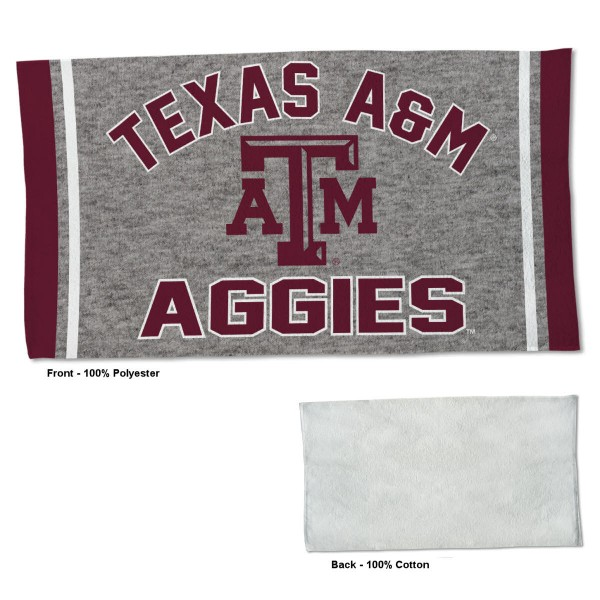 Texas A&M Aggies Workout Exercise Towel measures 22x42 inches, is made of 100% Polyester on the front and 100% Cotton on the back, has double stitched sewing perimeter, and Graphics and Logos, as shown. Our Texas A&M Aggies Workout Exercise Towel is officially licensed by the selected university and the NCAA. Also, machine washable and dryer safe.