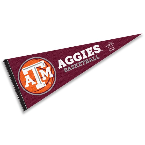 Texas A&M Basketball Pennant consists of our full size sports pennant which measures 12x30 inches, is constructed of felt, is single sided imprinted, and offers a pennant sleeve for insertion of a pennant stick, if desired. This Texas A&M Pennant Decorations is Officially Licensed by the selected university and the NCAA.