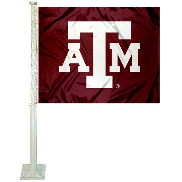 Texas A&M Car Window Flag measures 12x15 inches, is constructed of sturdy 2 ply polyester, and has screen printed school logos which are readable and viewable correctly on both sides. Texas A&M Car Window Flag is officially licensed by the NCAA and selected university.