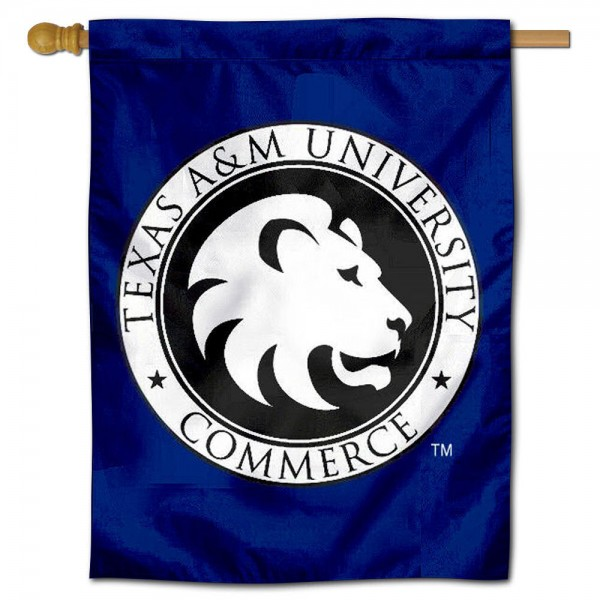 Texas A&M Commerce Lions Banner Flag is a vertical house flag which measures 30x40 inches, is made of 2 ply 100% polyester, offers dye sublimated NCAA team insignias, and has a top pole sleeve to hang vertically. Our Texas A&M Commerce Lions Banner Flag is officially licensed by the selected university and the NCAA.