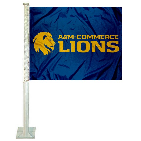 Texas A&M Commerce Lions Car Flag measures 12x15 inches, is constructed of sturdy 2 ply polyester, and has screen printed school logos which are readable and viewable correctly on both sides. Texas A&M Commerce Lions Car Flag is officially licensed by the NCAA and selected university.