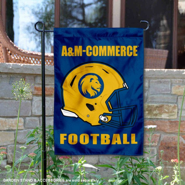 Texas A&M Commerce Lions Helmet Yard Garden Flag is 13x18 inches in size, is made of 2-layer polyester with Liner, screen printed university athletic logos and lettering, and is readable and viewable correctly on both sides. Available same day shipping, our Texas A&M Commerce Lions Helmet Yard Garden Flag is officially licensed and approved by the university and the NCAA.