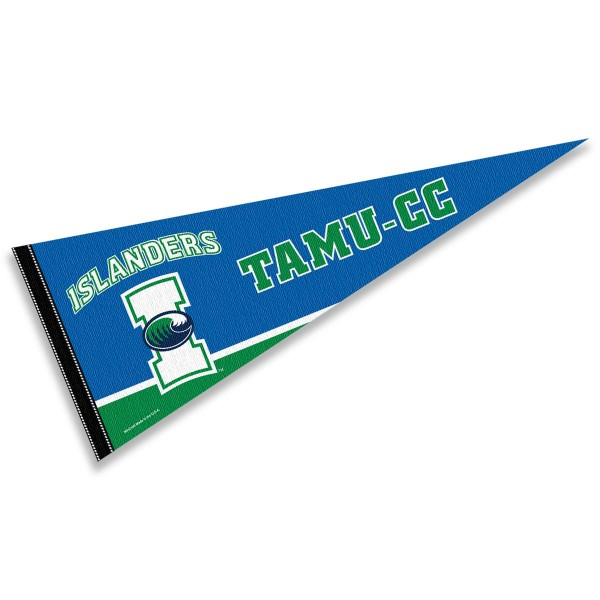 Texas A&M Corpus Christi Pennant Decoration consists of our full size pennant which measures 12x30 inches, is constructed of felt, is single sided imprinted, and offers a pennant sleeve for insertion of a pennant stick, if desired. This Texas A&M Corpus Christi Pennant Decoration is officially licensed by the selected university and the NCAA.
