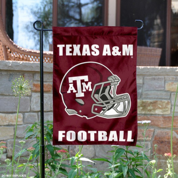 Texas A&M Football Helmet Garden Banner is 13x18 inches in size, is made of 2-layer polyester, screen printed Texas A&M University athletic logos and lettering. Available with Same Day Express Shipping, Our Texas A&M Football Helmet Garden Banner is officially licensed and approved by Texas A&M University and the NCAA.