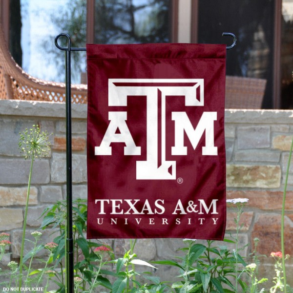 Texas A&M Garden Flag is 13x18 inches in size, is made of 2-layer polyester, screen printed university athletic logos and lettering. Available with Same Day Express Shipping, our Texas A&M Garden Flag is officially licensed and approved by the university and the NCAA.