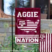 Texas A&M Garden Flag with USA Country Stars and Stripes