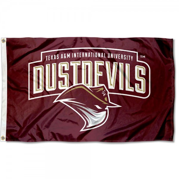 Texas A&M International Dustdevils Flag measures 3x5 feet, is made of 100% polyester, offers quadruple stitched flyends, has two metal grommets, and offers screen printed NCAA team logos and insignias. Our Texas A&M International Dustdevils Flag is officially licensed by the selected university and NCAA.