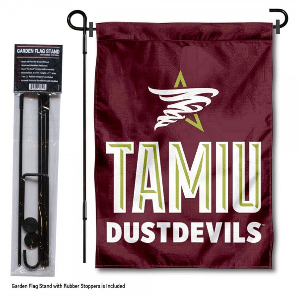 "Texas A&M International Dustdevils Garden Flag and Pole Stand Mount kit includes our 13""x18"" garden banner which is made of 2 ply poly with liner and has screen printed licensed logos. Also, a 40""x17"" inch garden flag stand is included so your Texas A&M International Dustdevils Garden Flag and Pole Stand Mount is ready to be displayed with no tools needed for setup. Fast Overnight Shipping is offered and the flag is Officially Licensed and Approved by the selected team."