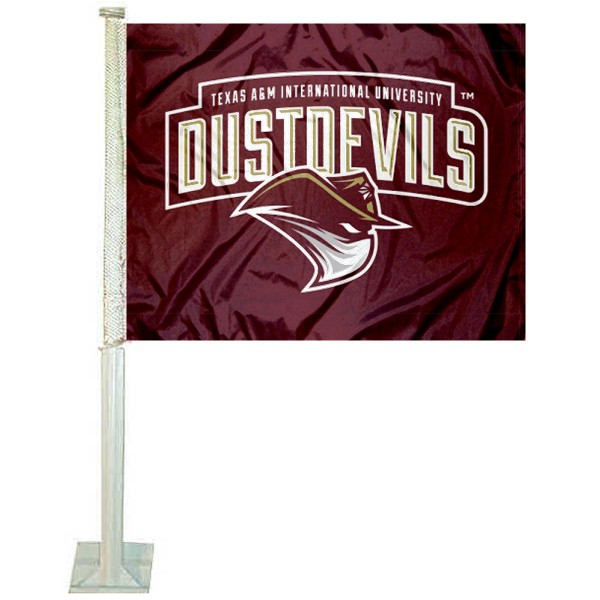 Texas A&M International Dustdevils Logo Car Flag measures 12x15 inches, is constructed of sturdy 2 ply polyester, and has screen printed school logos which are readable and viewable correctly on both sides. Texas A&M International Dustdevils Logo Car Flag is officially licensed by the NCAA and selected university.