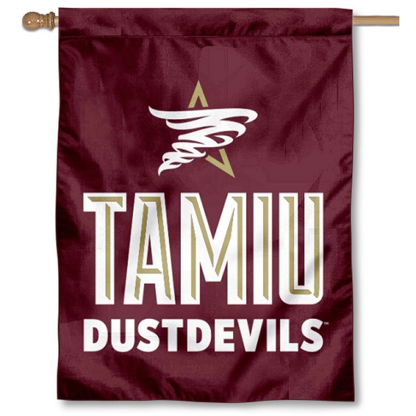 Texas A&M International Dustdevils Logo Double Sided House Flag is a vertical house flag which measures 30x40 inches, is made of 2 ply 100% polyester, offers screen printed NCAA team insignias, and has a top pole sleeve to hang vertically. Our Texas A&M International Dustdevils Logo Double Sided House Flag is officially licensed by the selected university and the NCAA.