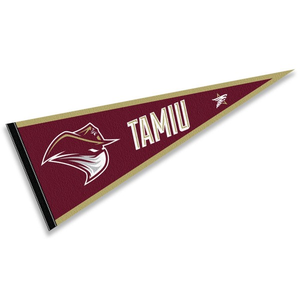 Texas A&M International Dustdevils Pennant consists of our full size sports pennant which measures 12x30 inches, is constructed of felt, is single sided imprinted, and offers a pennant sleeve for insertion of a pennant stick, if desired. This Texas A&M International Dustdevils Pennant Decorations is Officially Licensed by the selected university and the NCAA.