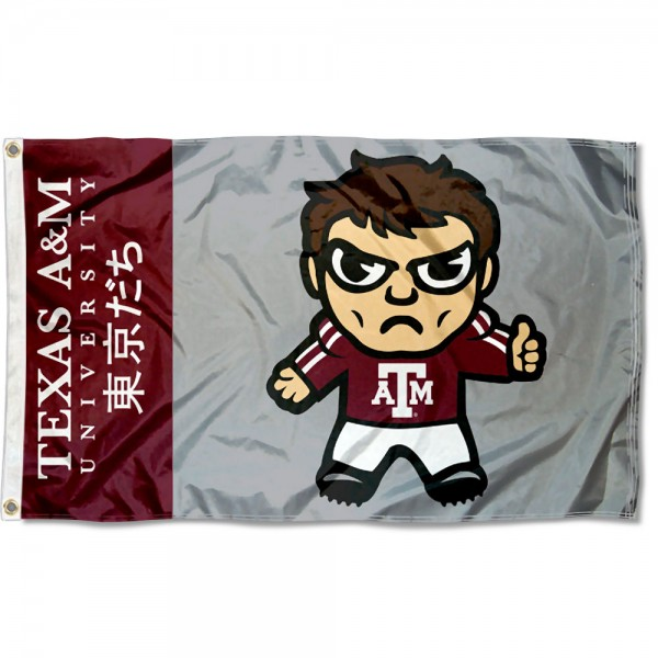 Texas A&M Kawaii Tokyo Dachi Yuru Kyara Flag measures 3x5 feet, is made of 100% polyester, offers quadruple stitched flyends, has two metal grommets, and offers screen printed NCAA team logos and insignias. Our Texas A&M Kawaii Tokyo Dachi Yuru Kyara Flag is officially licensed by the selected university and NCAA.