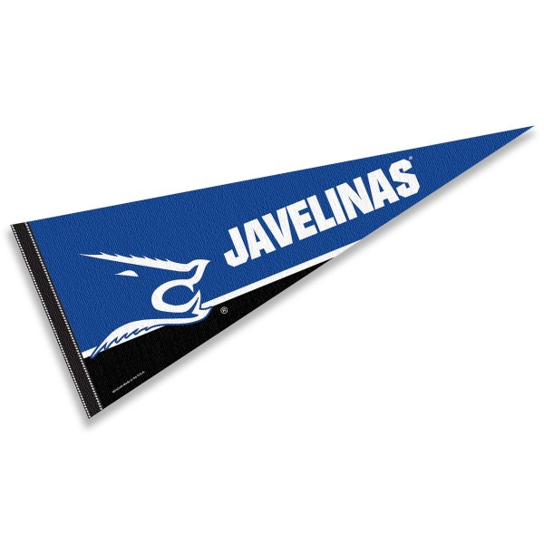 Texas A&M Kingsville Pennant Decoration consists of our full size pennant which measures 12x30 inches, is constructed of felt, is single sided imprinted, and offers a pennant sleeve for insertion of a pennant stick, if desired. This Texas A&M Kingsville Pennant Decoration is officially licensed by the selected university and the NCAA.