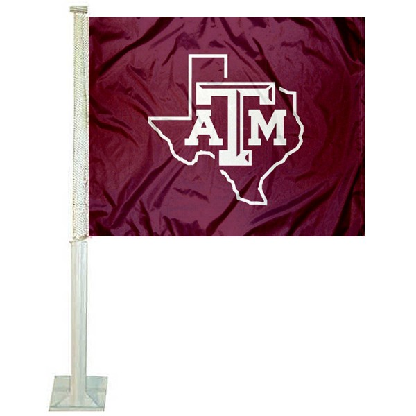 Texas A&M Lone Star Car Window Flag measures 12x15 inches, is constructed of sturdy 2 ply polyester, and has screen printed school logos which are readable and viewable correctly on both sides. Texas A&M Lone Star Car Window Flag is officially licensed by the NCAA and selected university.