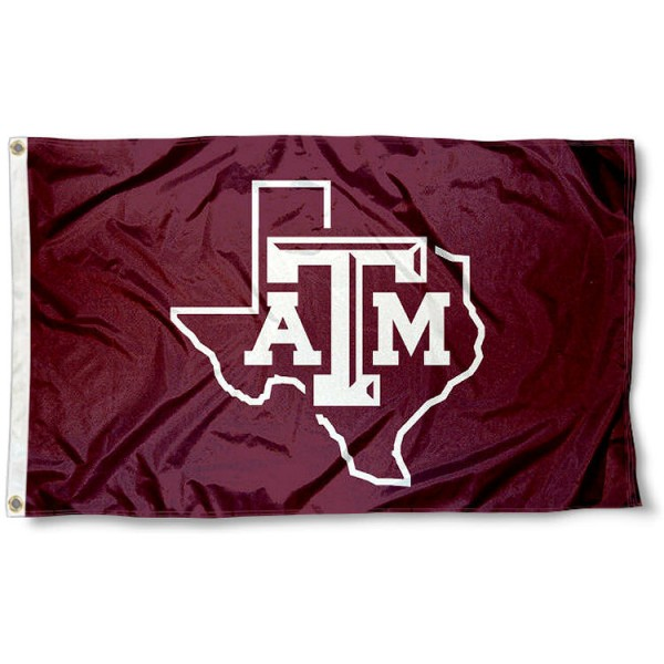 Texas A&M Lone Star Logo Flag measures 3x5 feet, is made of 100% polyester, offers quadruple stitched flyends, has two metal grommets, and offers screen printed NCAA team logos and insignias. Our Texas A&M Lone Star Logo Flag is officially licensed by the selected university and NCAA