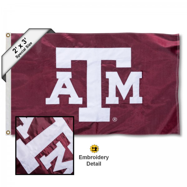 Texas A&M Small 2'x3' Flag measures 2x3 feet, is made of 100% nylon, offers quadruple stitched flyends, has two brass grommets, and offers embroidered Texas A&M logos, letters, and insignias. Our Texas A&M Small 2'x3' Flag is Officially Licensed by the selected university.