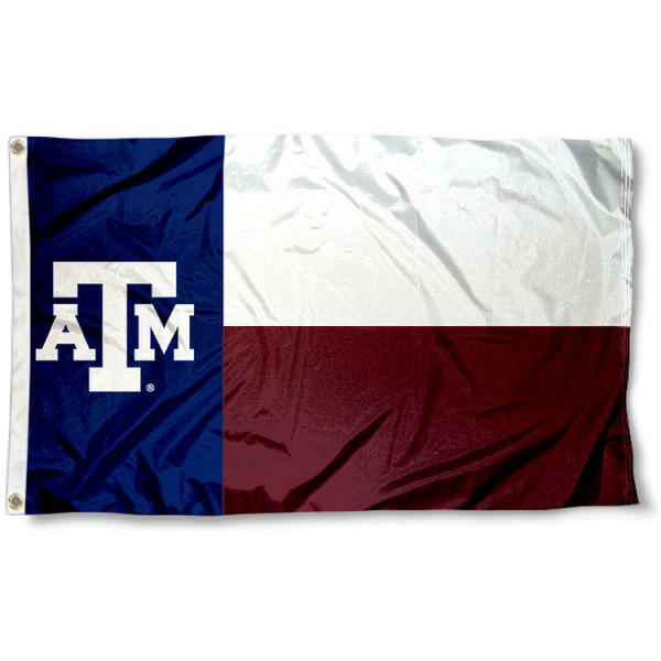 Texas A&M State Flag measures 3x5 feet, is made of 100% polyester, offers quadruple stitched flyends, has two metal grommets, and offers screen printed NCAA team logos and insignias. Our Texas A&M State Flag is officially licensed by the selected university and NCAA