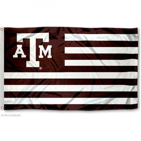 Texas A&M Stripes Nation Flag measures 3'x5', is made of polyester, offers quadruple stitched flyends for durability, has two metal grommets, and is viewable from both sides with a reverse image on the opposite side. Our Texas A&M Stripes Nation Flag is officially licensed by the selected school university and the NCAA.