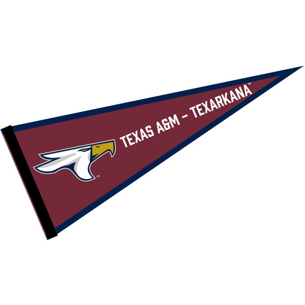 Texas A&M Texarkana Eagles Pennant consists of our full size sports pennant which measures 12x30 inches, is constructed of felt, is single sided imprinted, and offers a pennant sleeve for insertion of a pennant stick, if desired. This Texas A&M Texarkana Eagles Pennant Decorations is Officially Licensed by the selected university and the NCAA.