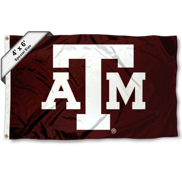Texas A&M University 4x6 Flag measures 4x6 feet, is made thick woven polyester, has quadruple stitched flyends, two metal grommets, and offers screen printed NCAA Texas A&M University athletic logos and insignias. Our Texas A&M University 4x6 Flag is officially licensed by Texas A&M University and the NCAA.